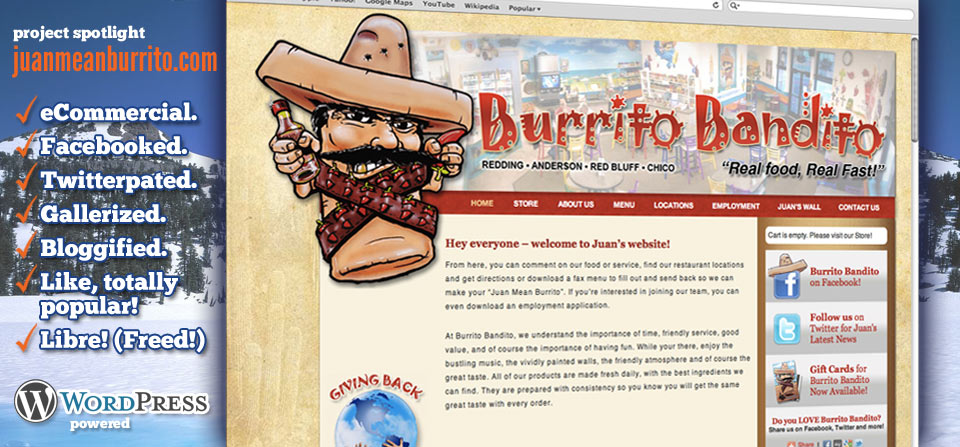 Burrito Bandito website by GRAPHICpilot.com | web designer in Redding, California